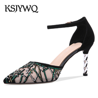 KSJYWQ Summer Style Leather Mesh Pumps for Women 7.5 CM High Heels Sexy Black Lace Buckle Stilettos Woman Box Packing 1852 369