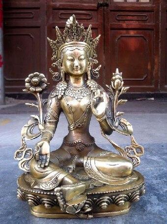 Livraison gratuite tibétain bronze tibet argent vert tara bouddha statue 28 cm livraison gratuite