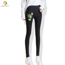New High Waist Black Embroidery Cartoon and Flowers Without Ripped Woman Fashion Floral Penci Pants Trousers For Women Jeans 3XL