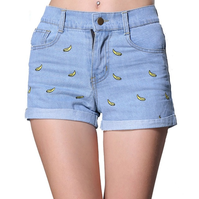 57fe26f2e Summer Cute Denim Shorts Women Banana Embroidery Cotton Casual female high  waist shorts Jeans Shorts Lady Fashion Slim Fit Brand