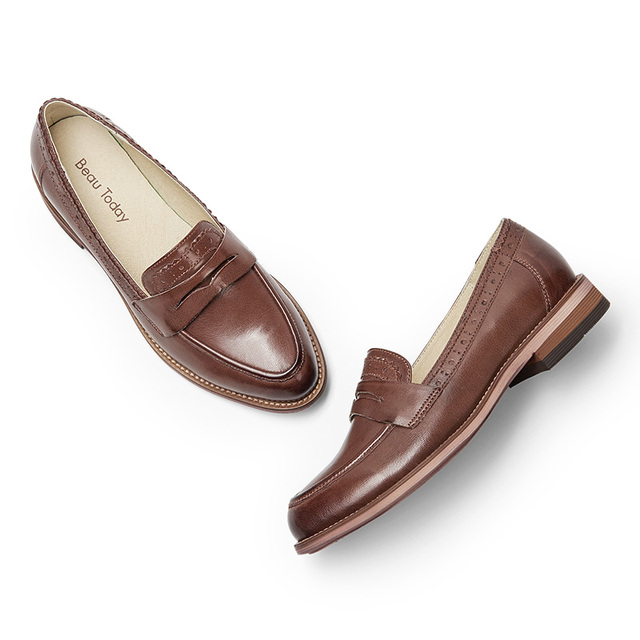 BeauToday Penny Loafer Women Handmade Sheepskin Moccasin Slip On Pointed Toe Flats Casual Dress Genuine Leather Shoes 27013