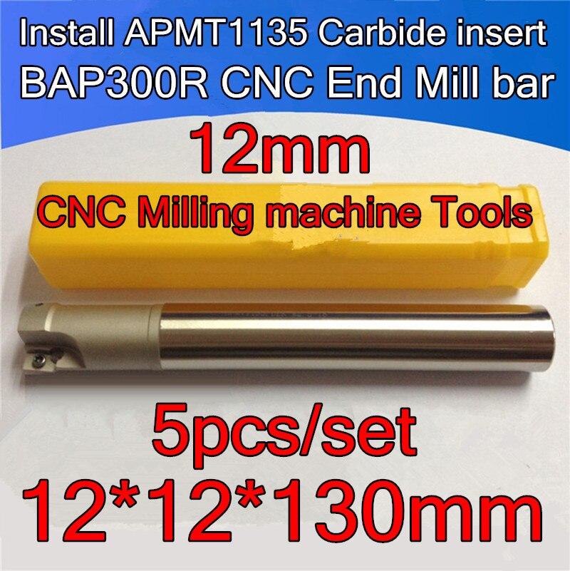5pcs set 12 12 130mm 1lutes 12mm Petiole BAP300R Install APMT1135 Carbide insert CNC End Mill