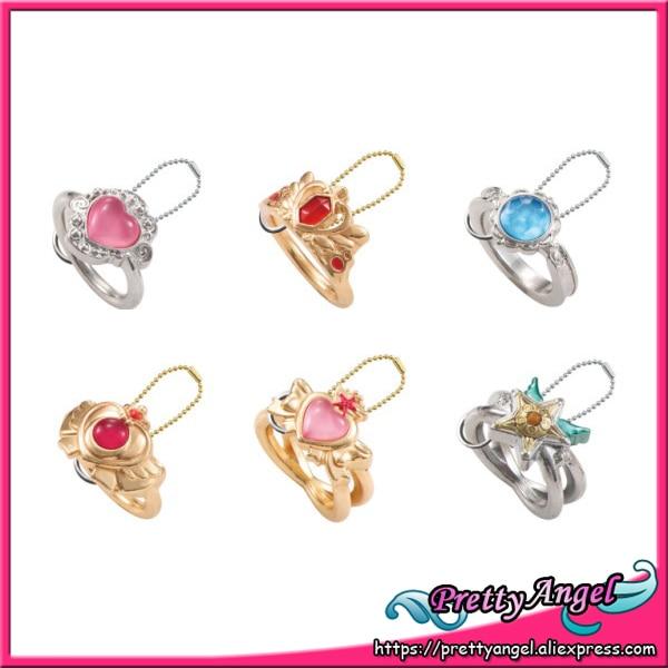 PrettyAngel - Bandash Sailor Moon original Aniversario 20 Anillos fundidos a presión Gashapon Juego de 6 piezas