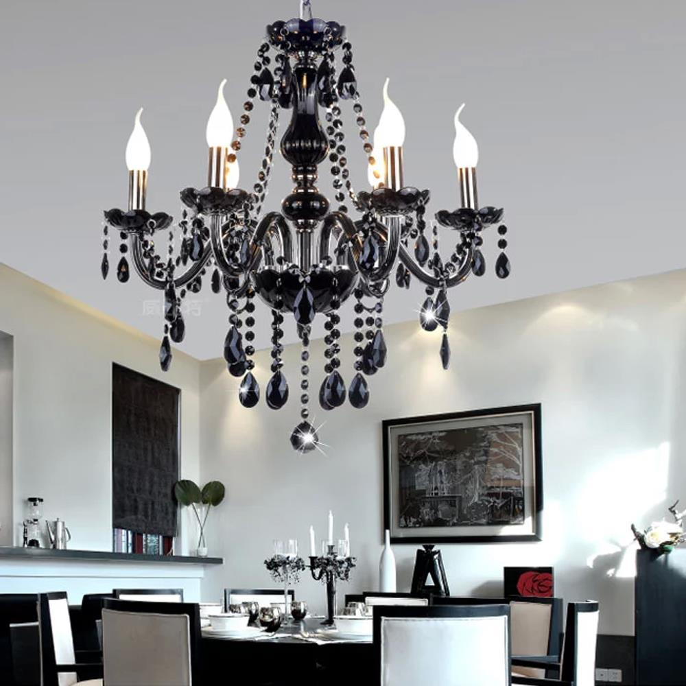 Black Crystal Chandelier France Design K9 Re Fixture 6 Heads Diy Art Chandeliers Lights Candle Flame Pendant Lamp Warm Light In From