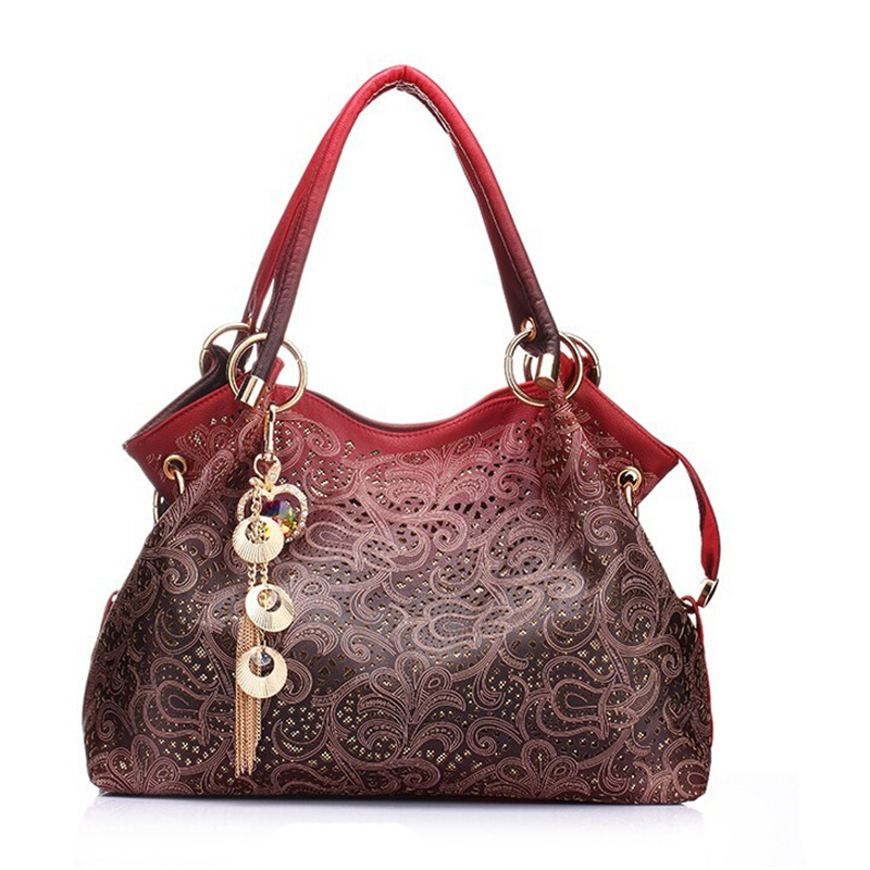 High Quality Pu Leather Women Messenger Bags Hollow Out Ladies Shoulder Totes Ba