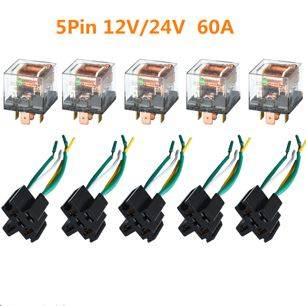 Kh 5  Set Car Control Relay Socket 12v  24v 60a 5 Pin Spdt