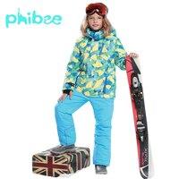 Phibee лыжный костюм Одежда для маленьких мальчиков и девочек Теплые Водонепроницаемый ветрозащитный сноуборд комплекты зимняя куртка детск