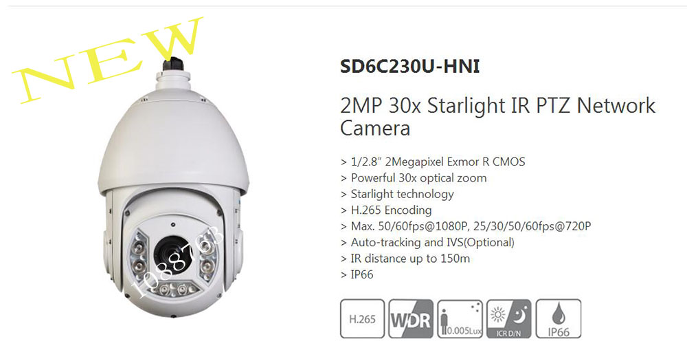 Free Shipping DAHUA Security IP Camera 2MP 30x Starlight IR PTZ Network Camera H 265 WDR
