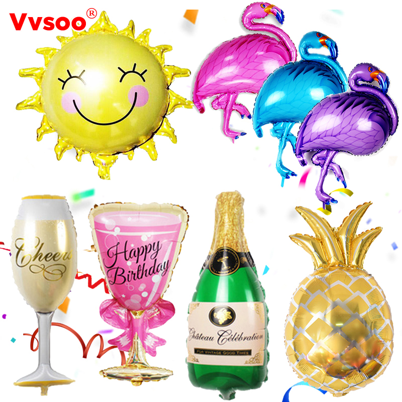 Vvsoo Flamingo/Pineapple/Beercup Aluminum Balloon Birthday Summer Party Baloons Beach Party Decor Pool Party Inflatable Joys