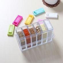 6Pcs Transparent Spice Jar Box