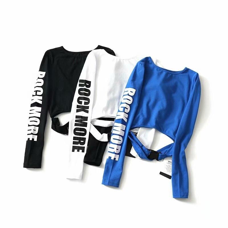Larga Las Túnica De Sólido Negro Blusas Nuevas Manga Algodón O blanco Impresa Mujeres Blusa cuello Elástico Mujer Slim Lumbar 2019 Primavera azul Carta Camiseta qw6TA