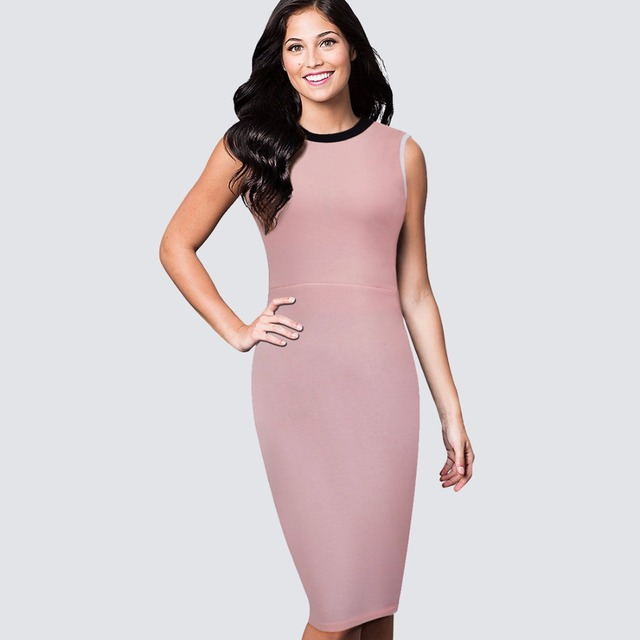 Fresh Casual Style Sleeveless Round Neck Light Pink Lady Sheath Fitted  Dress Classic Elegant Women Work Office Bodycon Dress B38 a43c40a7d8a9