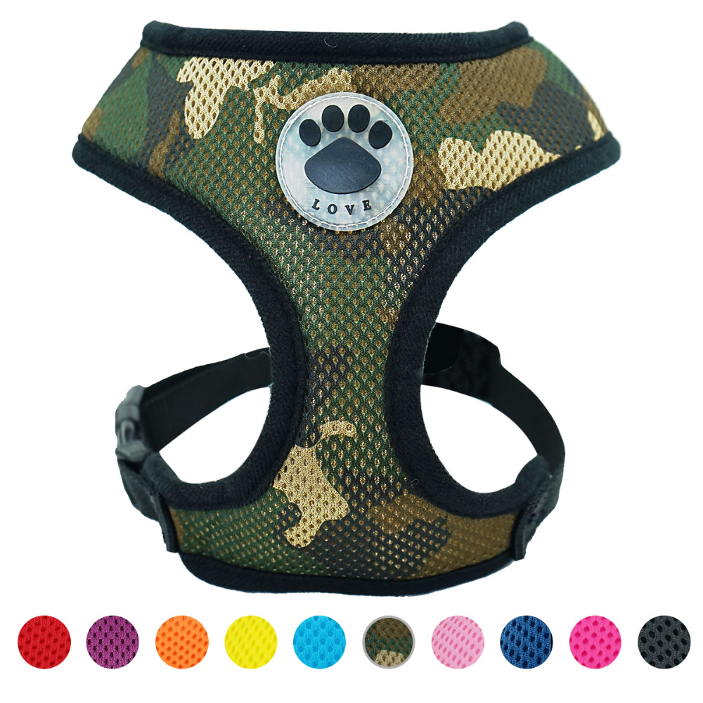 """love"" Paw Rubber Adjustable Soft Breathable Dog Harness Cat Control Nylon Mesh Vest Harness For  Pet Puppy Soft Chest Strap"