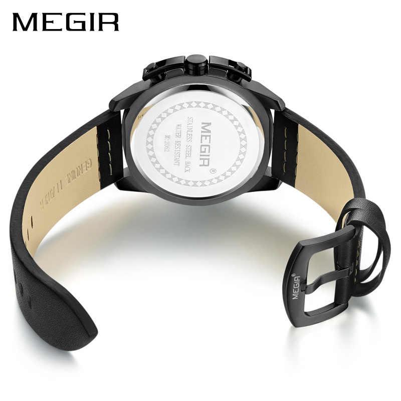 MEGIR שעונים שעון גברים יוקרה מותג הכרונוגרף גברים ספורט שעונים עמיד למים עור קוורץ גבר שעון Mens Relogio Masculino