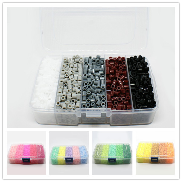 About 1900pcs/box 5mm Melty Beads PE DIY Fuse Beads Refills for Kids Tube colorful child/girl DIY marking beads 5x5mm, Hole: 3mm