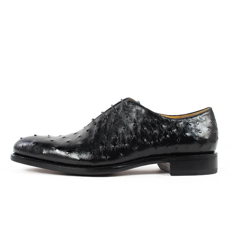 Ayakk.'ten Resmi Ayakkabılar'de Vikeduo 2019 Sıcak El Yapımı Marka Tasarımcısı siyah ayakkabı Moda Parti Düğün Devekuşu Erkek Elbise Hakiki Deri Erkek Oxford Ayakkabı'da  Grup 2