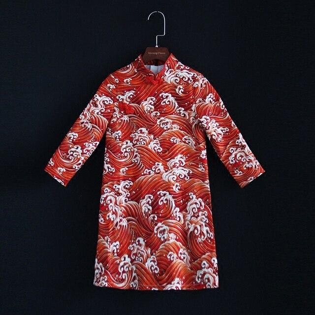 35e5ef3d946c6 Automne Hiver mère fille bébé enfants filles rouge imprimer coton droite  robe famille look vêtements maman