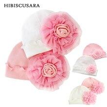 Gorro para bebês meninas com flor, chapéu macio de algodão para recém-nascidos, bebês, tampas infantis para fotografia, adereços de primavera e outono