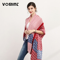 Vomint Brand Patchwork Elegant Summer Beach Scarf For Women Striped Pattern Design Lady Cool Scarf