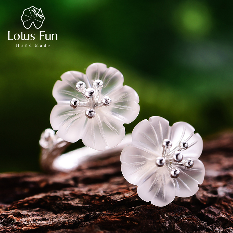 Lotus Fun Real 925 Sterling Silver Natural Crystal Ring Handmade Designer Fine Jewelry Flower In The Rain Rings For Women Bijoux