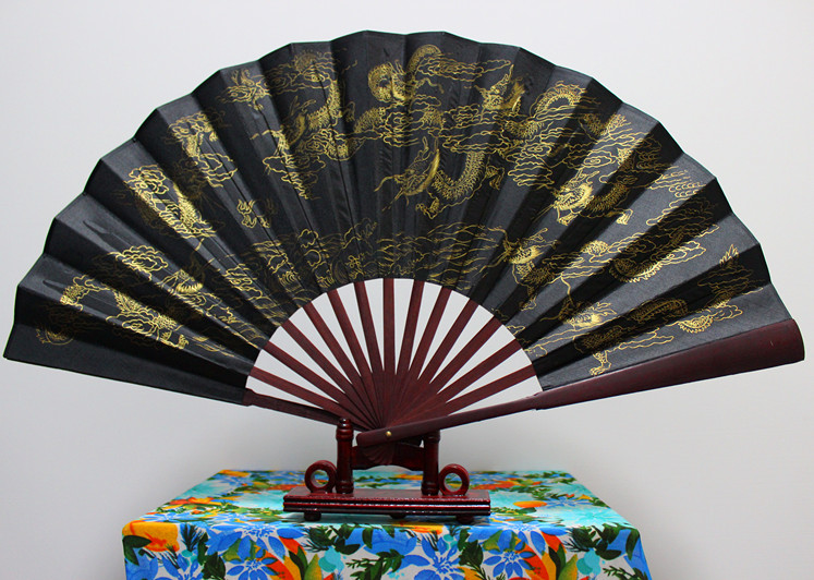 10 Gold Dragon Horse Large Bamboo Hand Fans Chinese Black Silk Fan Traditional Craft Decoration Folding Fan Gift 50pcs/lot