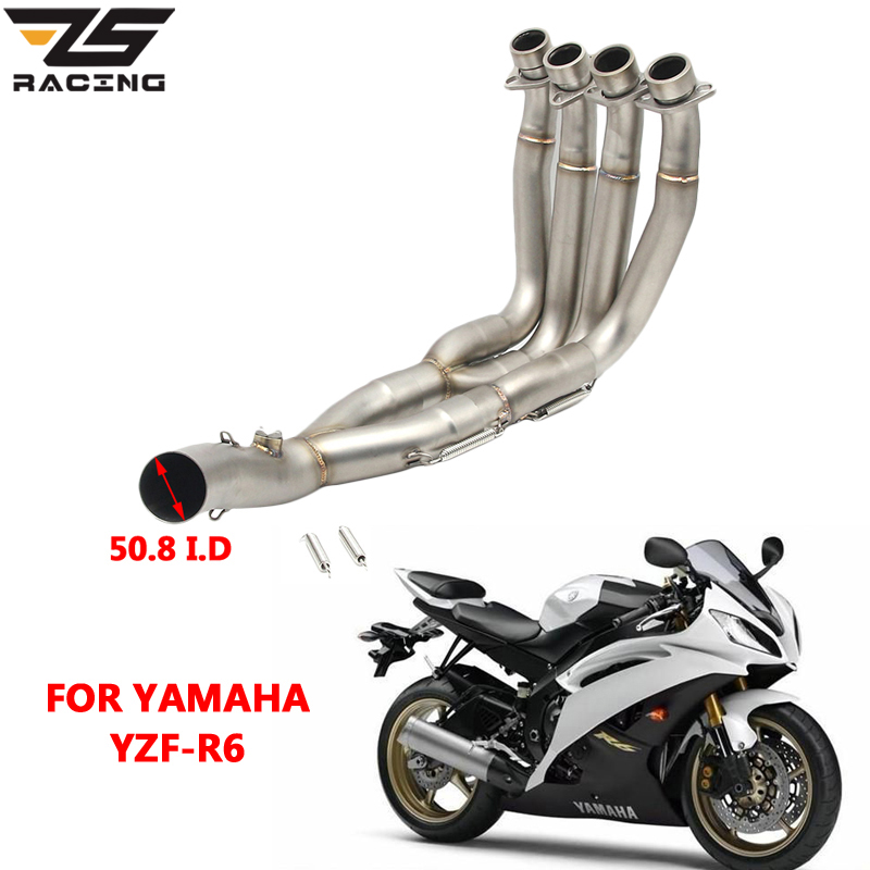 ZS Racing Middle pipe full System For YAMAHA YZF-R6 R6 2008-2016 Motorcycle Modified Muffler Pipe Front Header Pipe Tube hot sales yzf600 r6 08 14 set for yamaha r6 fairing kit 2008 2014 red and white bodywork fairings injection molding
