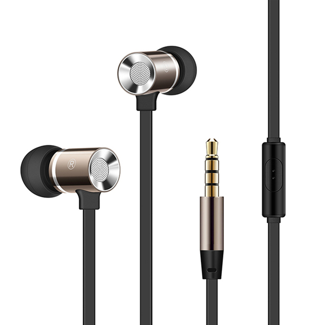 PTM M1 Aluminum Metal Earphone Heavy Bass Headset Noise Canceling Earbuds for Mobile Phone iPhone PC Hi-fidelity Sound