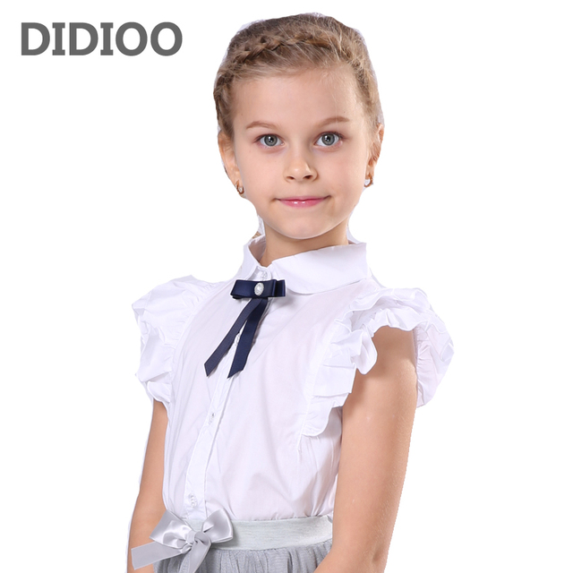 7547e4ab20 Blanco blusas para niñas trajes de Navidad manga corta niños chica  adolescente niñas uniformes escolares 4