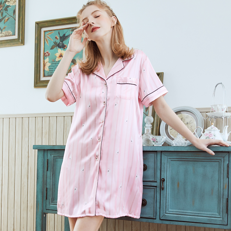 NG0357 Women   Nightgowns     Sleepshirts   2019 New Short Sleeves Mini Summer Night Gown Ladies Satin Silk Sexy Sleepwear Night Dress