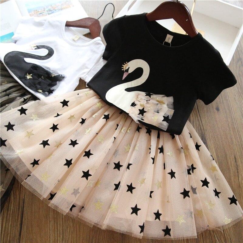 HTB1EbpgUXzqK1RjSZFvq6AB7VXa2 Girls Clothing Sets 2019 Summer Princess Girl Bling Star Flamingo Top + Bling Star Dress 2pcs Set Children Clothing Dresses