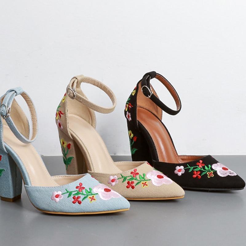 Pompes Chaussures blue Lady Hauts Femmes Pointu apricot Black Fleur Office Bout Swb0060 Talons Broder Élégant Haute ZEaw4xqUP