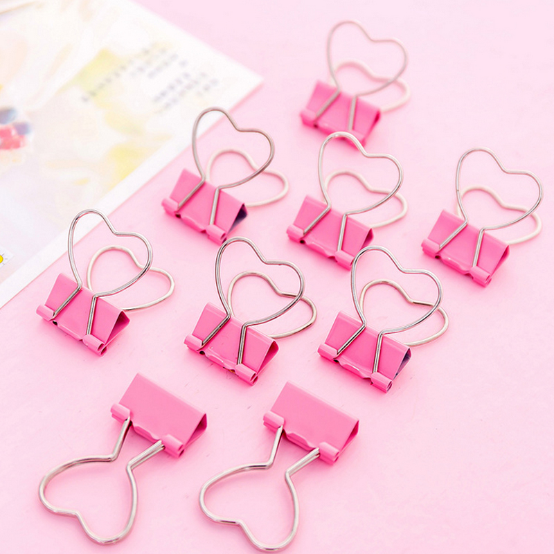 5 Pcs/lot Pink Love Student Clips File Clip Organizer Papelaria Kawaii Stationery Office & School Supplies Zakka
