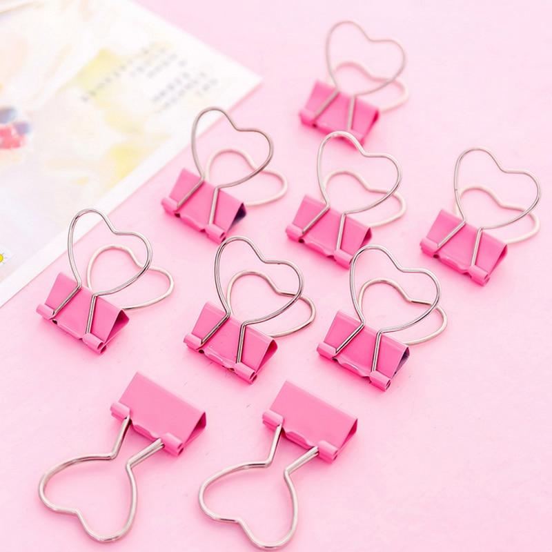 5 Pcs/lot Pink Love Student Clips File Clip Organizer Papelaria Kawaii Stationery Office & School Supplies Zakka