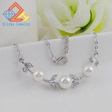 Korea New Jewelry Fashion Flower Imitation  Pearl Choker Neckalce Woman Statement Necklace Accessories