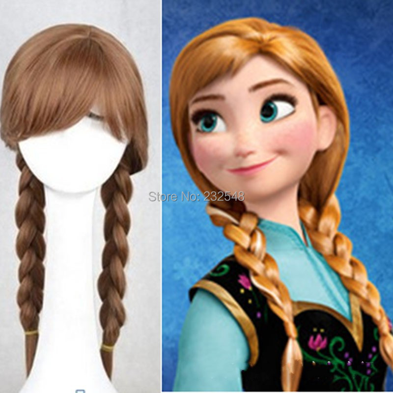 2014 Cosplay Wigs Frozen Snow Queen Princess Anna Long Braid Anime