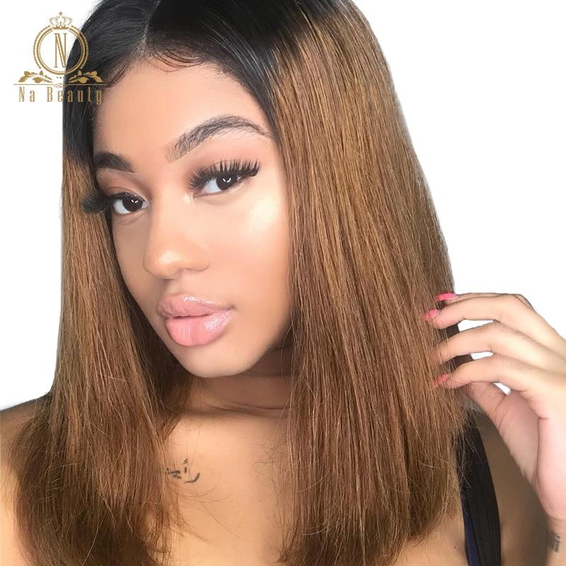 Плотность 180% бразильский Волосы remy 1B 30 Ombre парики прямо 13x4 Синтетические волосы на кружеве Цвет боб парики предварительно сорвал натуральны...