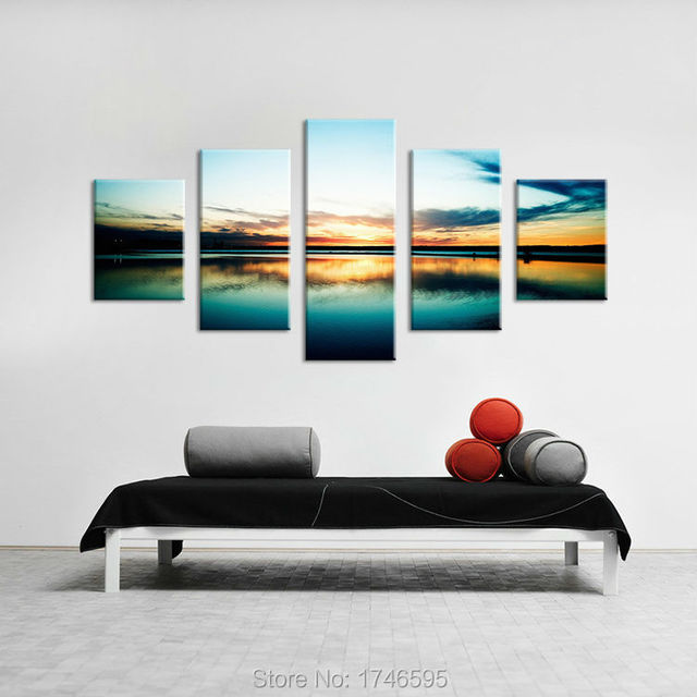 Big size modern home decor wall art painting harbour sunset wide ...