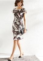 PIXY Soft 100% Silk Dress Women Summer Midi Dresses Belted Blue Short Sleeve Wheel Print White sukienka Ladies Casual vestidos