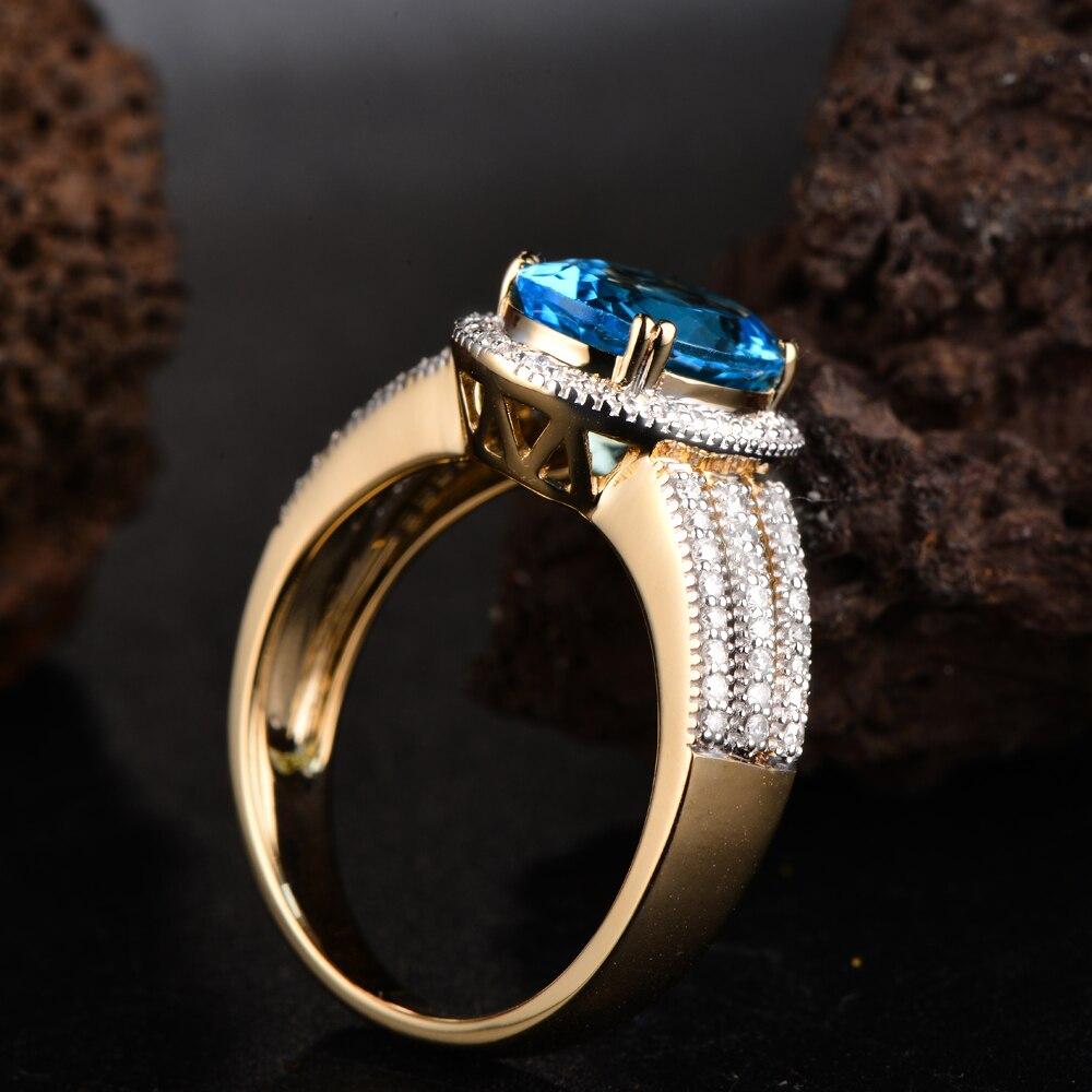 14 к желтое золото Натуральный топаз H SI АЛМАЗ милгрен винтажный дизайн кольцо ювелирные изделия