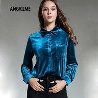ANGVILME 2018 Women Winter Spring Vintage Shirts Peacock Bright Blue Blouses Velvet Shirts Long Sleeve High