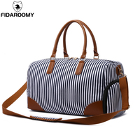 Striped Travel Duffel Bags for Men Women Canvas Large Capacity Weekender Handbags with Shoe Pocket Portable Shoulder Bags