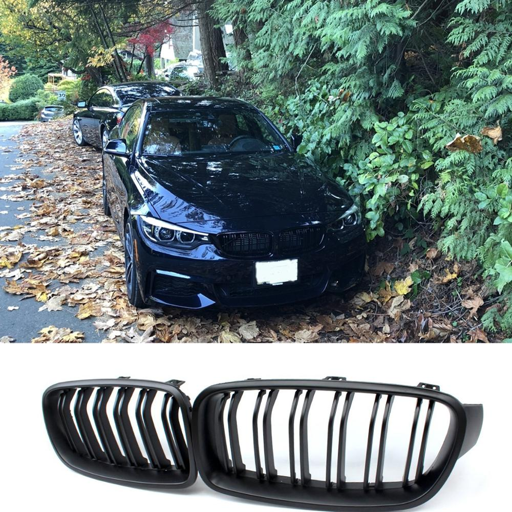 Car Front Sport <font><b>Grill</b></font> Gloss Black Double Slat Kidney Grille Front Bumper <font><b>Grill</b></font> For BMW <font><b>F30</b></font> F31 F35 320i 328d 328i 335i image