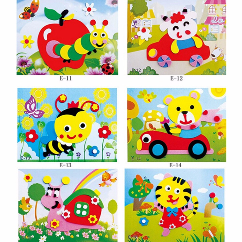 3D EVA Foam Sticker Puzzle Baby DIY Cartoon Animal Series E Early Learning Education Toys For Children 20Pcs kids wooden multilayer jigsaw puzzle toys early education 3d puzzle story cartoon fire fighting truck puzzle for children gift