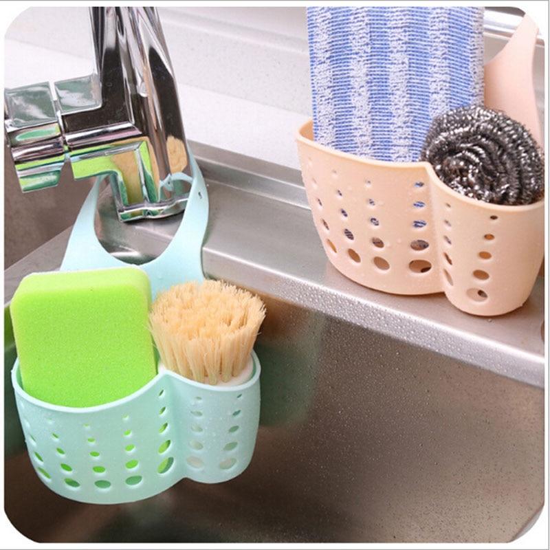 Hot Kitchen Sink Shelving Bag Dish Cloths Rack Suction Sponge Hanging Drain  Holder Faucet Multipurpose Storage
