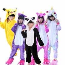 Купить с кэшбэком Children pajamas unicorn Animal Pajamas Girls Winter kids pijama de unicornio infantil pyjama licorne enfant pillamas 4-12 Year