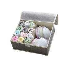 New Fabric Cotton Collapsible underwear Bra Storage box Multicolor Drawer Underwear Box Scarf Socks Bra home storage organizer tanie tanio ZAKŁAD SAFEBET Tkaniny 32*26*13cm Schowek na bieliznę
