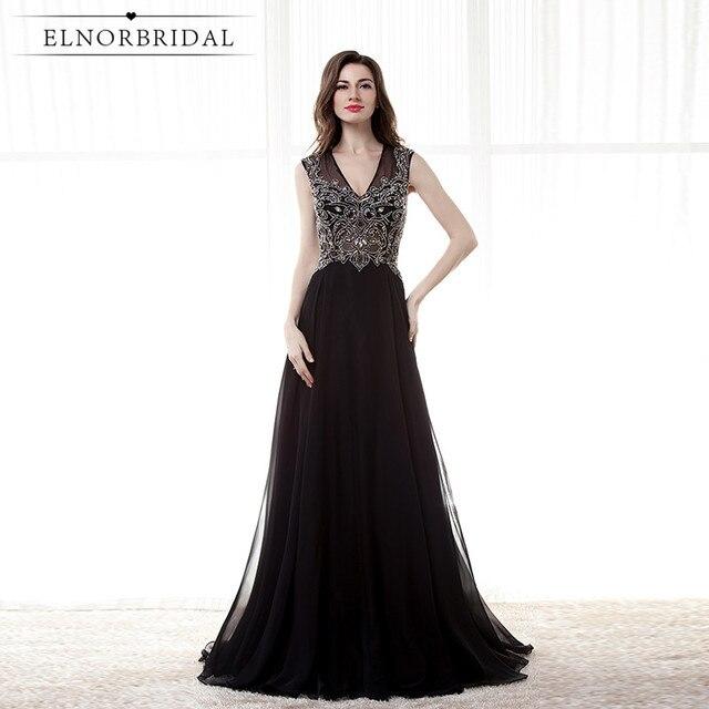 Vintage Black Evening Dresses 2018 Abendkleider V Neck Robe De ...