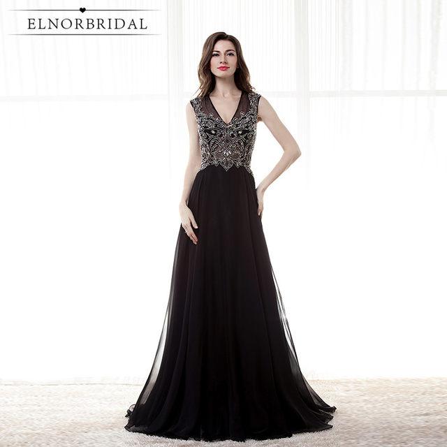 Online Shop Vintage Black Evening Dresses 2018 Abendkleider V Neck ...