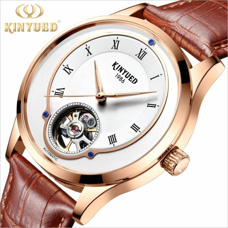 KINYUED Luxury Waterproof Automatic Men Mechanical Watch Rose Gold Leather Luminous Self-Winding Man Casual Wristwatch 2019