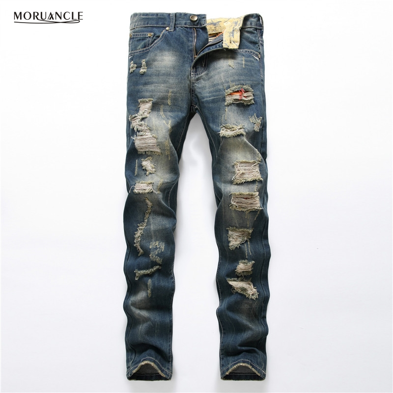 2017 Fashion Mens Ripped Jeans Brand Designer Distressed Denim Trousers For Man Slim Fit Destroyed Jeans Pants Casual Straight 2017 fashion patch jeans men slim straight denim jeans ripped trousers new famous brand biker jeans logo mens zipper jeans 604